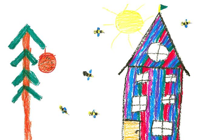Kinderzeichnung Bienenschwarm