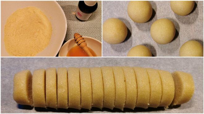 Verarbeitung der Zutaten zum Honig-Mazipan
